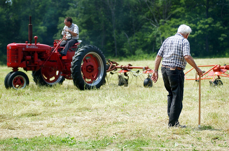 PREPARING HAY; WALLY JOHNSON OF LONGUEVIEW FARM