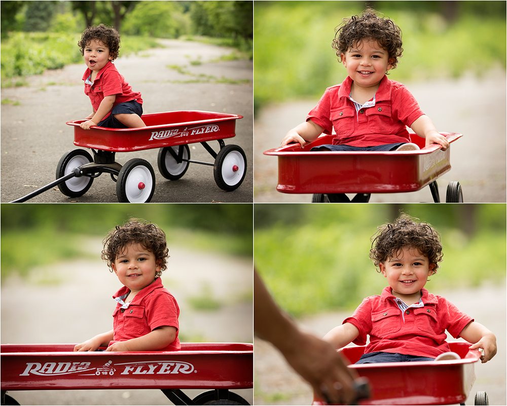 boy in red wagon