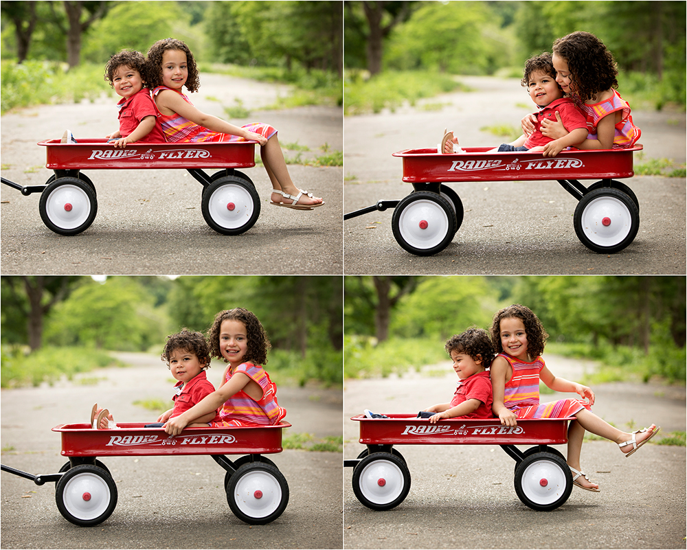 siblings in red wagon photos
